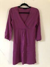 Boden Purple Wrap Dress 100% Wool Balloon Sleeve Size 10 A1818