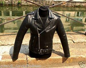 Giubbotto chiodo pelle vitello motociclista biker metal rock Guendj