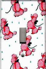 PINK POODLES ON WHITE HOME WALL DECOR SINGLE LIGHT SWITCH PLATE
