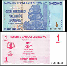 ZIM HUNDRED ZIMBABWE 100 TRILLION DOLLARS AA 2008 P91 SERIES 1 CENT 2006 P33 UNC