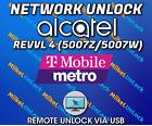 Remote Network Unlock Service ALCATEL REVVL 4 5007W 5007Z MetroPCS T-Mobile