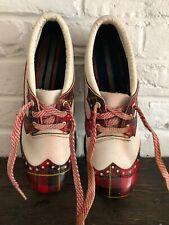 Rare Vintage Red Tartan Plaid White Metal Spike Golf Shoes Original Laces