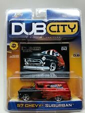 Jada Toys Dub City  ~ '57 Chevy Suburban Red and Black w/ Decals  - 1:64 2003