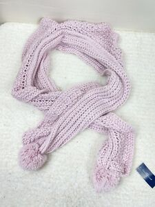 Charter Club New Ruffle-Knit Boa Scarf with Fluffy Knit Poms NWT $49 Pale Lilac