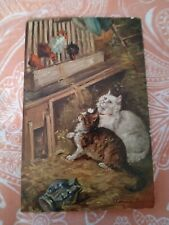 Vintage Cat Postcard. Art. Two cats in hen house. Foreign. PM 1907. Worn.