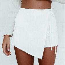 Summer Women Lace Up Asymmetric Tiered Mini Beach Shorts Skirt Culottes S-XL NEW