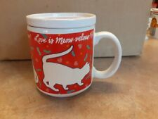 Vintage Cup Mug and Lid Coaster Cats Heart Love Is Meow-velous keep me warm mug