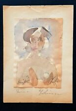 Greek fine art ,Watercolor on paper ,Signed Paris 1931.Unique .Nude Woman