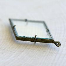 DIY Glass Locket Pendant Antique Bronze Diamond Double Sided Pressing Frame