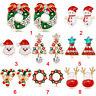 2x Ear Stud Pierced Christmas Crystal Earrings Hook Drop Earrings Lady Jewelr ME