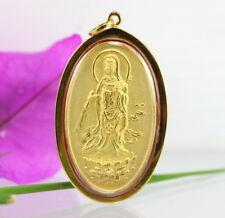 Mystic Guan Yin Solid 18K 75% Pure Gold Framed Thai Buddha Amulet Pendant