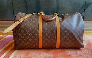 Auth LOUIS VUITTON Keepall Bandouliere 55 Monogram Canvas Travel Duffel Bag
