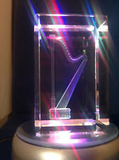 "3D Laser Etched Crystal Tower Paperweight Harp NEW Glass 3""x2""x2"" Gift Box"
