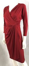 Maggy London Red Sheath  Dress Silky Stretch Bodycon V Neck 3/4 Sleeve Lined S/M
