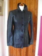 Ladies M&S black leather JACKET COAT BLAZER UK 10 petite short tooled tailored