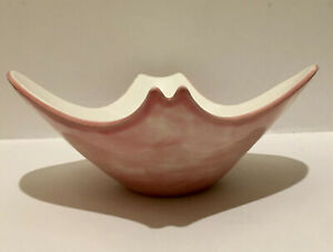 Mid Century Modern Abstract Ceramic Bowl Dish Handpainted Signed Dated 1962 Pink