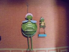 "Lot Of 2 Adorable Tin Hanging and Standing Frogs 15"" & 9"" Garden Decor"