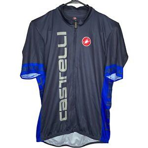 Castelli Cycling Race Jersey Men's Full Zip XL Grey Blue Short Sleeve