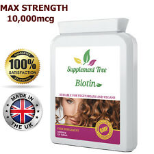 BIOTIN 10,000mcg MAX STRENGTH Hair Beard Nails Growth B7 Vitamins 120 Tablets