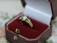 Vintage Jewellery Gold Ring Peridot White Sapphires Antique Deco Jewelry L 6