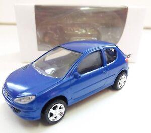"""Peugeot 206 Bleu 1/64 """"3 Inche"""" Diecast NOREV Produit NEUF !!"""