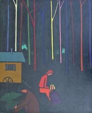 Huile tableau 1958 Intéressante Composition Roulottes Gitans Arbres