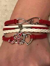 Love Alabama Crimson Tide Infinity Love Womens Adjustable Charm Wrap Bracelet
