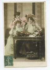 Lady Edwardian HAT makers Fashion Glamour haute couture 1910s photo postcard