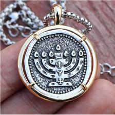 Menorah Necklace Judaica Candle Holder Pendant Hebrew Hanukkah Israel Emblem