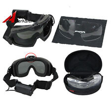 Tactical Airsoft Safety Goggles Glasses Anti-Fog Dust 2 Lens With Fan Set Black