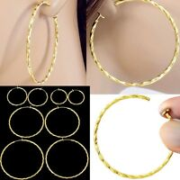 #E121D NEW Pair Non-pierced CLIP ON Twist Hoop EARRINGS Spring Closure Big Small