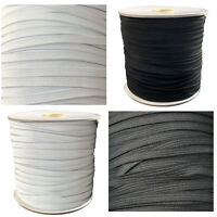 7mm Elastic Wide Flat Black White Stretch Soft Knitted Cord Sewing Dress Making