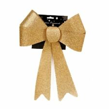 Outdoor Christmas Glitter Bow. Alternative to Wreath. 3 Colours Gold 60555