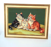 Cat Trio Needlepoint Completed 19 x 24 Framed 2 Cats Kittens