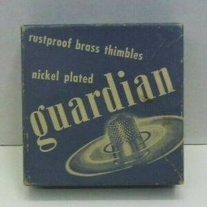 Vtg Guardian Nickel Plated Brass Thimbles in Original Box 4ct Size 11
