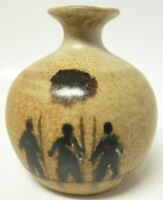 Art Pottery Vase with Three Hunters