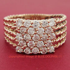 Antique Genuine Solid 9ct Rose Gold Engagement Wedding Ring Simulated Diamonds