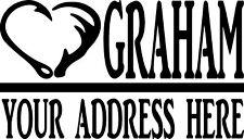 Mailbox Letters 2 Piece Set Number Street Name Hook Antler Custom Sticker Decal