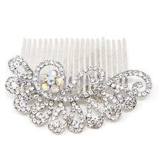 beautiful flowers elegant wedding bridal crystal rhinestones pearl hair comb BA9