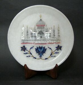 07 Inches Marble Collectible Plate White Business Gift Plate for Christmas Event