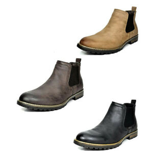 Men's Casual Chelsea Ankle Boots Relaxed Fit Shoes Black Brown Size 6.5-10-15