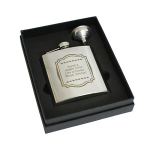 Personalised Framed Message 6oz Hip Flask+Funnel+Box - Free Engraving - Birthday