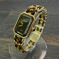 Rise-on CHANEL Premiere L Size Gold Plated Black Leather Ladies Wrist Watch #17