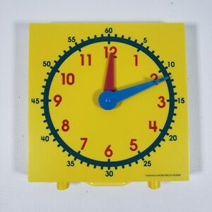 NEW YELLOW STUDENT CLOCK TABLE TOP LEARNING TIME TOOL AID HOMESCHOOL MANUAL TOY