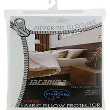 Zippered Fabric Pillow Cover Allergy Bed Bug Protector Waterproof 2 Pack Case