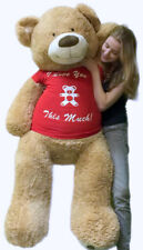 5 Foot Giant Teddy Bear Soft 60 Inch New, Wears T-shirt I LOVE YOU THIS MUCH