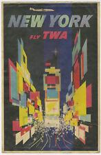 1950's New York Fly TWA Vintage Advertising Poster 11x17 Lockheed L-749