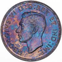 1939 CANADA SILVER DOLLAR COLOR BU MONSTER GEM UNC TONED PURPLE BLUE (DR)