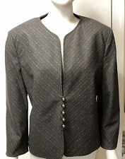 Classy Louis Feraud Gray Wool Diagonal Pinstriped Blazer Jacket, Size 14 (46)