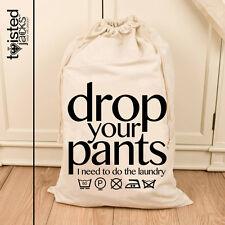 Large Laundry Drawstring Bag Wash Bag Natural Cotton Bag 72X50cm Bathroom